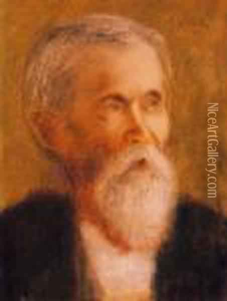 Portrait Of The Kossuth-devoted Uncle Rippl, Janos Ronai (1832-1915) ), About 1914-15 Oil Painting - Jozsef Rippl-Ronai