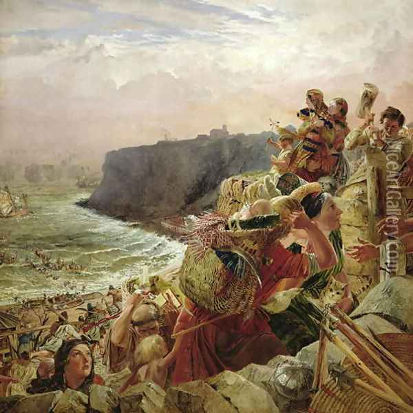 Landing of the Danish Vikings near Tynemouth, c.793 AD, c.1861 Oil Painting - William Bell Scott