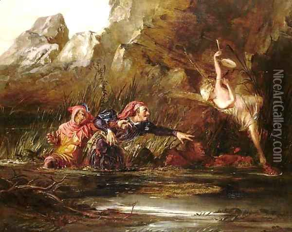 Ariel and Caliban Oil Painting - William Bell Scott