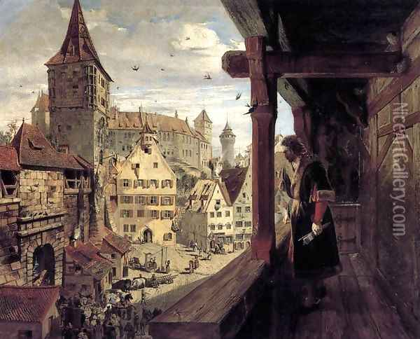 Albrecht Dürer on the Balcony of his House 1854 Oil Painting - William Bell Scott