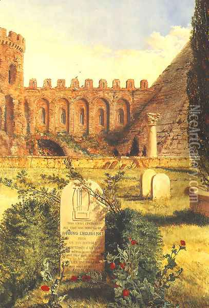 Keats's Grave in the Old Protestant Cemetery at Rome, 1873 Oil Painting - William Bell Scott