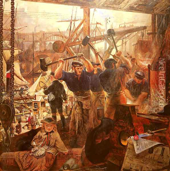 Iron and Coal Oil Painting - William Bell Scott