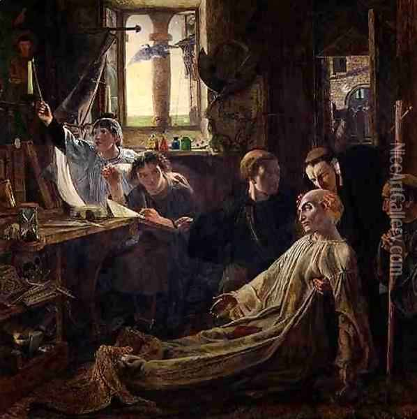 The Death of the Venerable Bede c.638-735 in Jarrow Priory, c.1861 Oil Painting - William Bell Scott