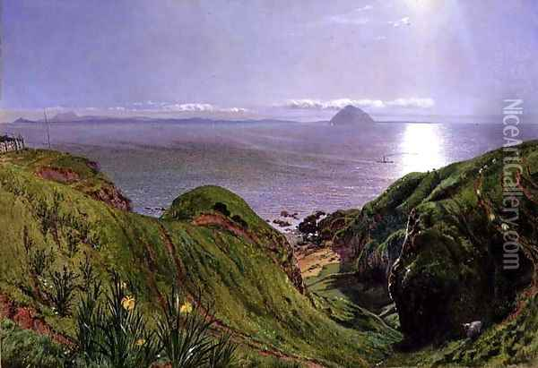 A View of Ailsa Craig and the Isle of Arran, 1860 Oil Painting - William Bell Scott