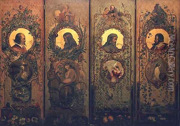 A four leaf screen with portraits of Shakespeare, Milton, Chaucer and Spenser Oil Painting - William Bell Scott