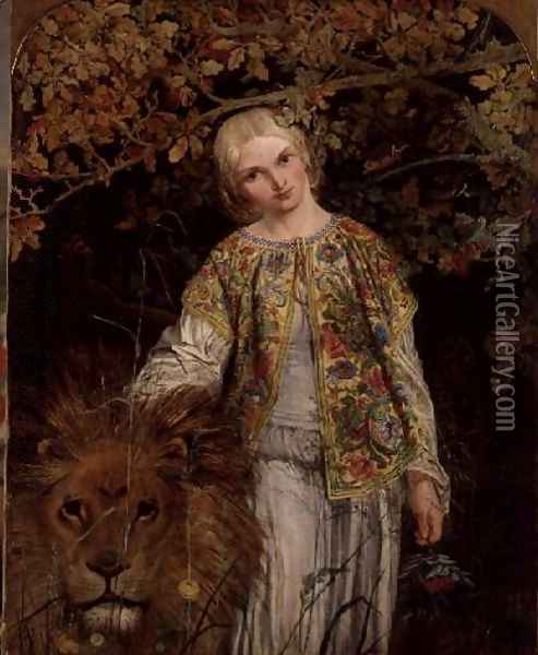 Una and the Lion, exh. 1860 Oil Painting - William Bell Scott