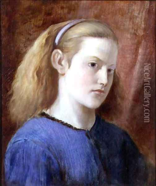 Portrait of a Girl in Blue Oil Painting - William Bell Scott