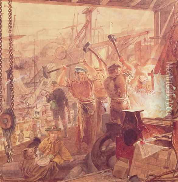 Industry on the Tyne Iron and Coal Oil Painting - William Bell Scott