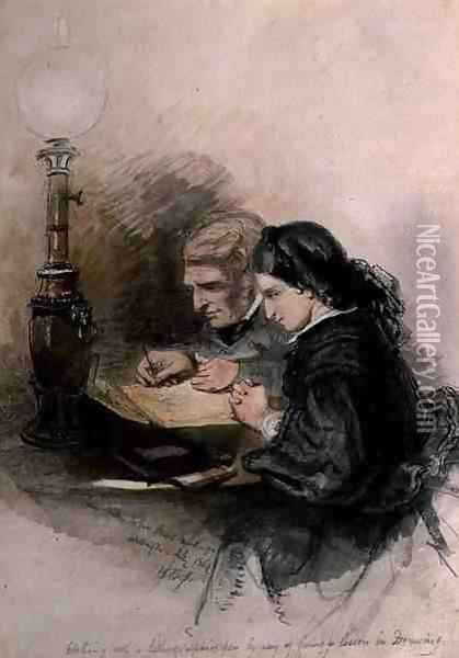 John Ruskin 1819-1900 Teaching Louisa Stewart-Mackenzie to Draw, 1857 Oil Painting - William Bell Scott