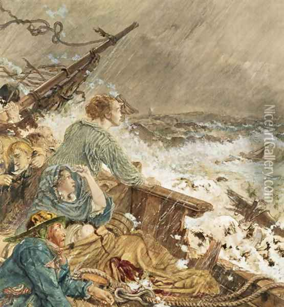 Grace Darling and her father saving the shipwrecked crew, 17th September 1838 Oil Painting - William Bell Scott