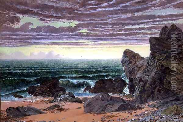 Sunset over the Sea Oil Painting - William Bell Scott