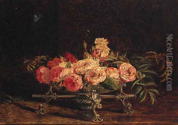 Pink and white Roses in an 18th Century Silver Dish-cros Oil Painting - William Bell Scott