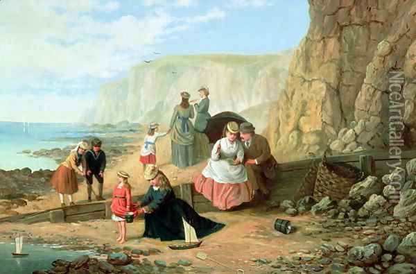 A Day at the Seaside Oil Painting - William Bell Scott