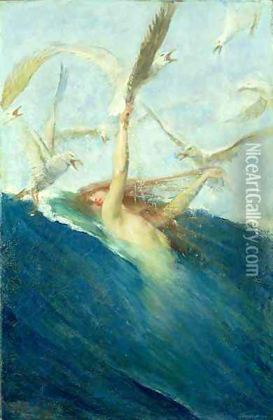 A Mermaid Being Mobbed by Seagulls Oil Painting - Giovanni Segantini