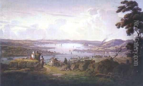 View of Dunbarton and River Clyde Oil Painting - Robert Salmon