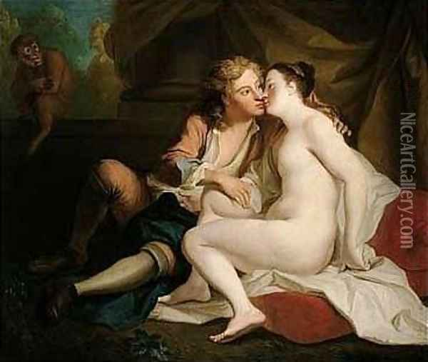 Youth Kissing an Unclad Young Woman Oil Painting - Louis de Silvestre