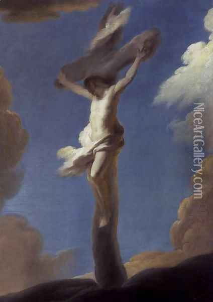 Christ on the Cross Formed by Clouds 1734 Oil Painting - Louis de Silvestre
