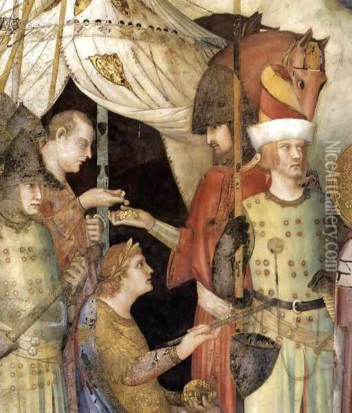 Saint Martin Renounces his Weapons (detail-2) 1312-17 Oil Painting - Louis de Silvestre