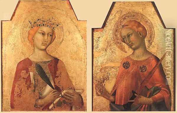 St Catherine and St Lucy 1320-25 Oil Painting - Louis de Silvestre