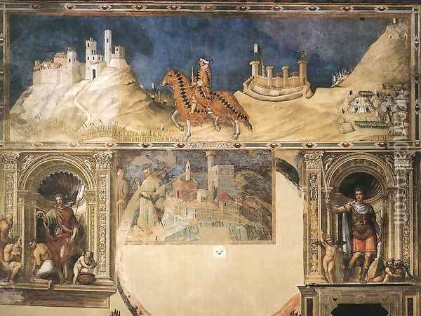 Equestrian portrait of Guidoriccio da Fogliano 1328-30 Oil Painting - Louis de Silvestre
