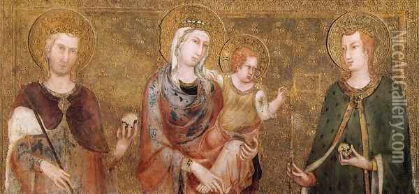 Madonna and Child between St Stephen and St Ladislaus 1318 Oil Painting - Louis de Silvestre