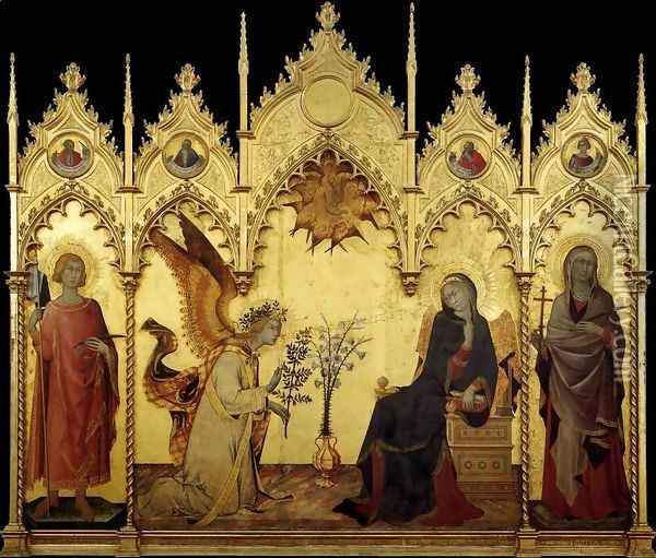 The Annunciation and Two Saints 1333 Oil Painting - Louis de Silvestre
