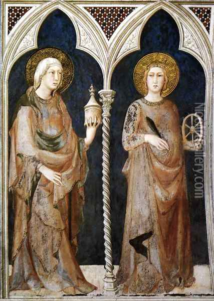 St Mary Magdalen and St Catherine of Alexandria 1317 Oil Painting - Louis de Silvestre