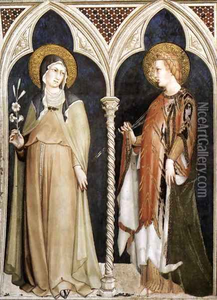 St Clare and St Elizabeth of Hungary 1317 Oil Painting - Louis de Silvestre