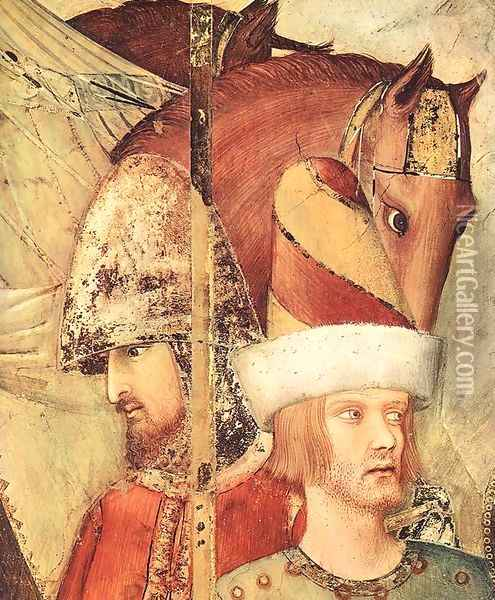 Saint Martin Renounces his Weapons (detail-1) 1312-17 Oil Painting - Louis de Silvestre