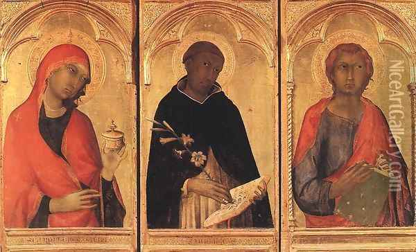 Polyptych of Santa Caterina (detail-1) 1319 Oil Painting - Louis de Silvestre
