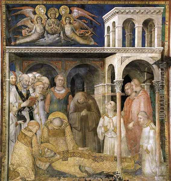 The Death of St Martin (scene 9) 1312-17 Oil Painting - Louis de Silvestre