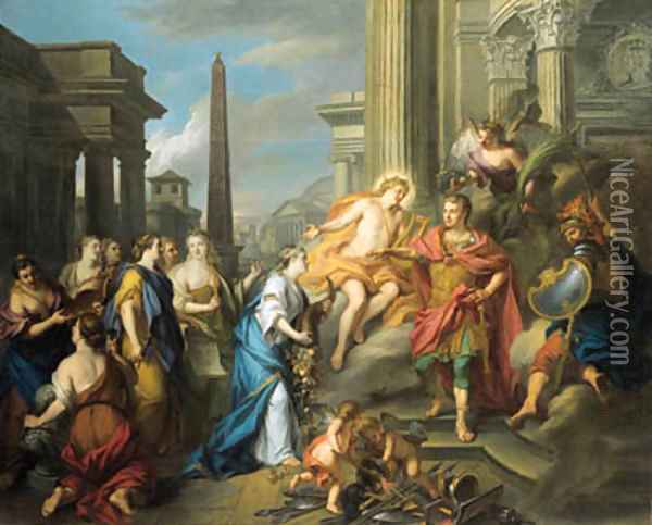 Augustus closing the Temple of Janus Oil Painting - Louis de Silvestre