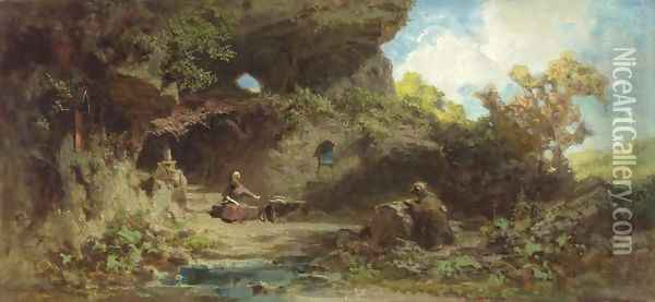 A Hermit in the Mountains Oil Painting - Carl Spitzweg