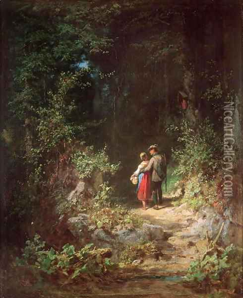 Lovers in a Wood, c.1860 Oil Painting - Carl Spitzweg