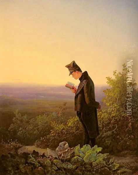 Reading the Breviary, The Evening Oil Painting - Carl Spitzweg