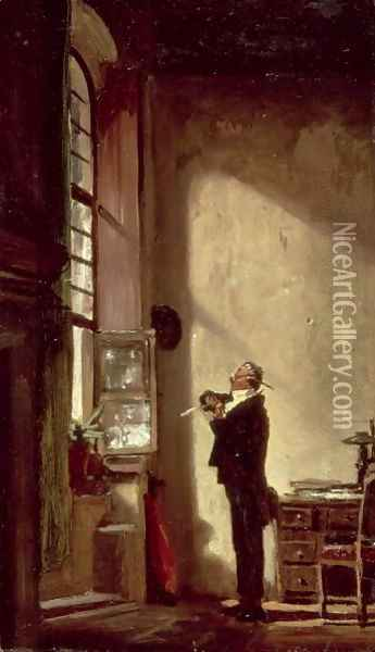The Writer Oil Painting - Carl Spitzweg