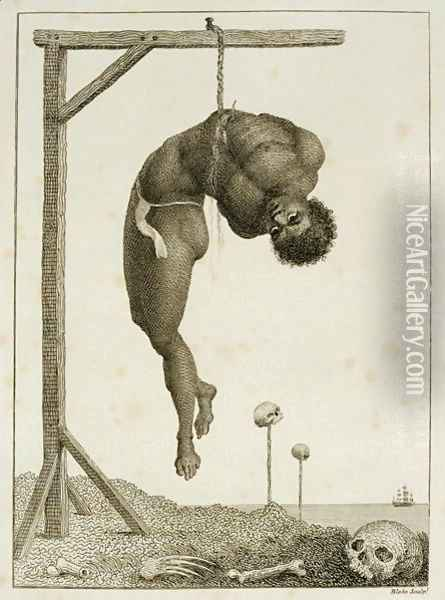 A Negro hung alive by the Ribs to a Gallows, from Narrative of a Five Years Expedition against the Revolted Negroes of Surinam, in Guiana, on the Wild Coast of South America, from the year 1772, to 1777, engraved by William Blake 1757-1827 Oil Painting - John Gabriel Stedman