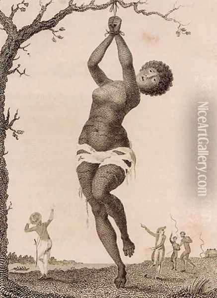 Flagellation of a Female Samboe Slave, engraved by William Blake 1757-1827, published 1793 Oil Painting - John Gabriel Stedman