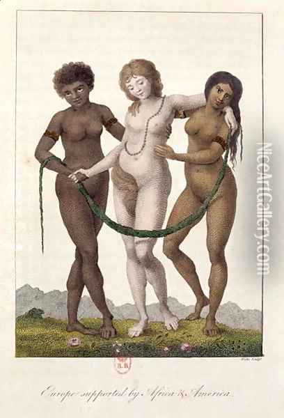 Europe Supported by Africa and America, from Narrative of a Five Years Expedition against the Revolted Negroes of Surinam 1772-77, engraved by William Blake 1757-1827, published 1796 Oil Painting - John Gabriel Stedman