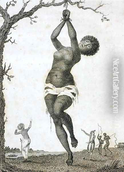 Flagellation of a Female Samboe Slave, from a Narrative of a Five Years Expedition against the Revolted Negroes of Surinam..., 1796 Oil Painting - John Gabriel Stedman