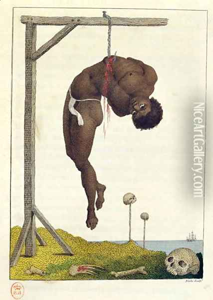 A Negro hung alive by the Ribs to a Gallows, from Narrative of a Five Years Expedition against the Revolted Negroes of Surinam, in Guiana, on the Wild Coast of South America, from the year 1772, to 1777, engraved by William Blake 1757-1827 2 Oil Painting - John Gabriel Stedman
