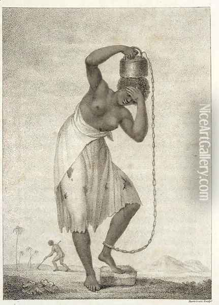 A Female Negro Slave, with a Weight chained to her ankle, from Narrative of a Five Years Expedition against the Revolted Negroes of Surinam, in Guiana, on the Wild Coast of South America, from the year 1772 to 1777, engraved by Francesco Bartolozzi Oil Painting - John Gabriel Stedman