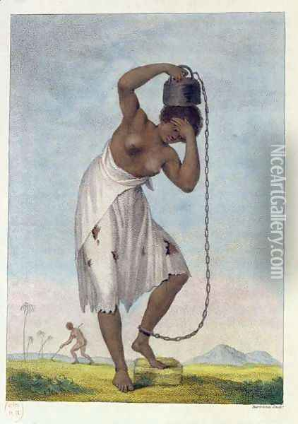 A Female Negro Slave with a Weight Chained to her Ankle, from Narrative of a Five Years Expedition Against the Revolted Negroes of Surinam 1772-77, 1796 Oil Painting - John Gabriel Stedman