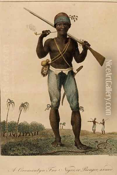 A Coromantyn Free Negro, or Ranger, Armed, engraved by William Blake 1757-1827, published 1806 Oil Painting - John Gabriel Stedman