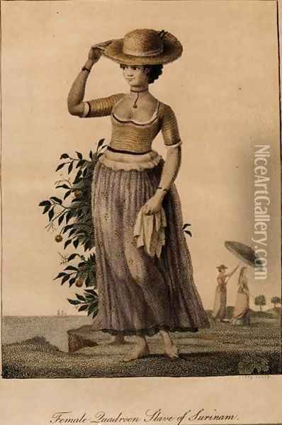 Female Quadroon Slave of Surinam, engraved by Perry, published 1806 Oil Painting - John Gabriel Stedman