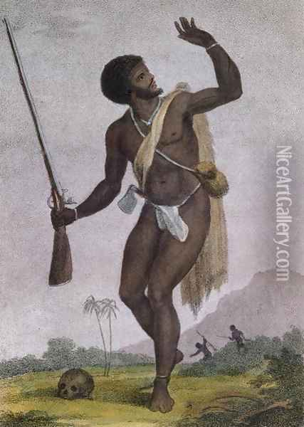 Rebel Slave Armed and on his Guard, from Narrative of a Five Years Expedition against the Revolted Negroes of Surinam 1772-77, engraved by Bartolozzi, published 1794 Oil Painting - John Gabriel Stedman