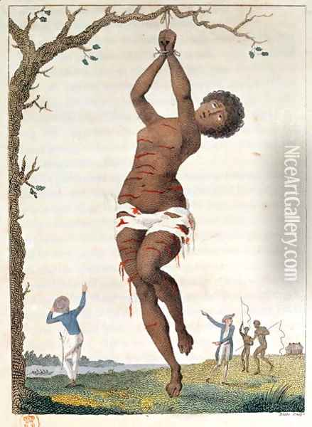 Flagellation of a Female Samboe Slave, 1793, plate 36 from Narrative of a Five Years Expedition against the Revolted Negroes of Surinam, engraved by William Blake 1757-1827, pub. 1796 Oil Painting - John Gabriel Stedman