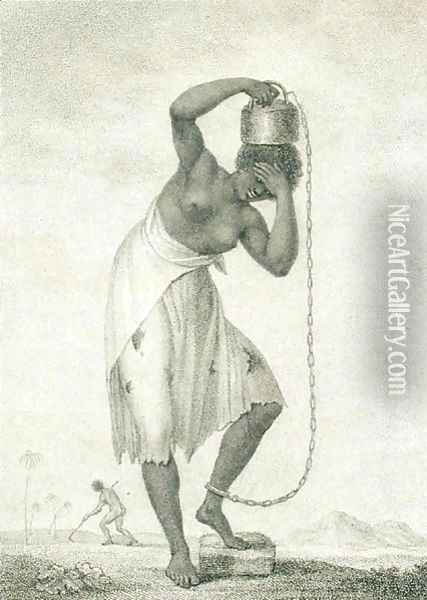 A Female Negro Slave with a Weight Chained to her Ankle, engraved by Francesco Bartolozzi 1725-8-1815 1795 Oil Painting - John Gabriel Stedman