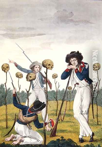 The Skulls of Lieutenant Leppar and six of his men, from Narrative of a Five Years Expedition against the Revolted Negroes of Surinam, by J.G. Stedman, 1796 Oil Painting - John Gabriel Stedman