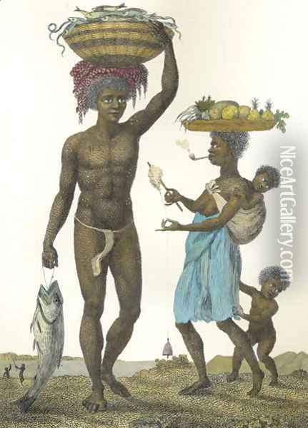 Family of Negro Slaves from Loango, 1792, plate 69 from Narrative of a Five Years Expedition against the Revolted Negroes of Surinam, engraved by William Blake 1757-1827 pub. 1806 2 Oil Painting - John Gabriel Stedman